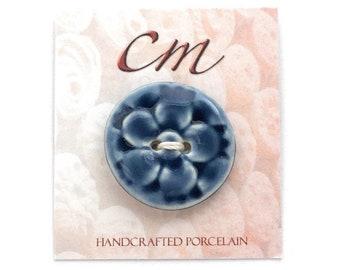 Deep Blue Flower Porcelain Button, Porcelain Button, Ceramic Button, Dark Blue Button, Flower Button, Gift for Knitter, Gift for Crocheter