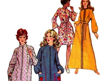 f040c8d4cfaeb 1970s Robe Pattern Long Short Front Zip Housecoat Simplicity 9722 Vintage Sewing  Women s Misses Size 12 - 14 Bust 34 - 36 Inches