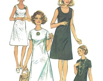 1970s Dress Pattern Jiffy Simplicity Vintage Uncut Half Size Sewing Women's Misses Size 21. 5 Bust 43 Inches