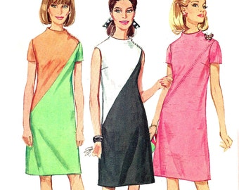 1960s Dress Pattern Diagonal Seam Vintage Simplicity Sewing Women's Misses Size 12 Bust 32 Inches