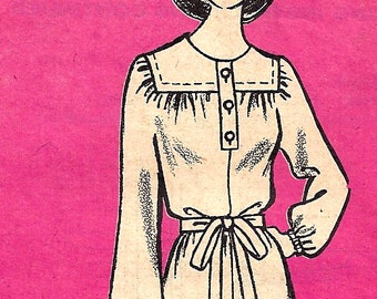 1970s Dress Pattern Mail Order Printed Uncut Vintage Sewing Junior's Misses Women's Size 15 Bust 37 Inches