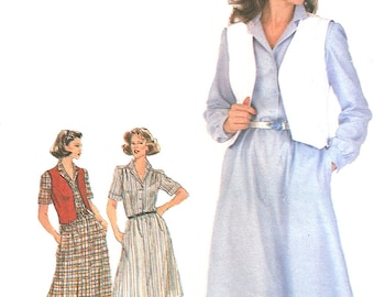 1980s Shirtdress Pattern Simplicity Vest Pullover Uncut Vintage Sewing Women's Misses Size 16 Bust 38 Inches
