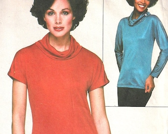1970s Blouse Pattern Jiffy Simplicity Pullover Cowl Neck Top Vintage Sewing Women's Misses Size Large 18 - 20 Bust 40 - 42 Inches