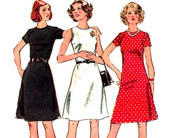 1970s Dress Pattern Jiffy Simplicity Vintage Sewing Easy Sew Women's Misses Size 12 Bust 34 Inches