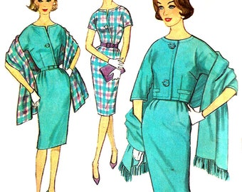 1960s Dress Pattern Jacket Stole Uncut Simplicity Vintage Sewing Kimono Sleeve Women's Misses Size 12 Bust 32 Inches