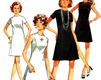 1970s Jiffy Dress Pattern Simplicity Vintage Sewing Collarless Back Zip Women's Misses Size 14 Bust 36 Inches