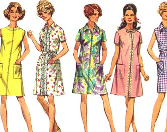 1960s Dress Pattern Simplicity Half Size Vintage Sewing Uncut Women's Misses Size 20 . 5 Bust 43 Inches