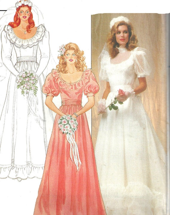 Wedding Gown Pattern 1980s Vintage Butterick Bridesmaid Dress | Etsy
