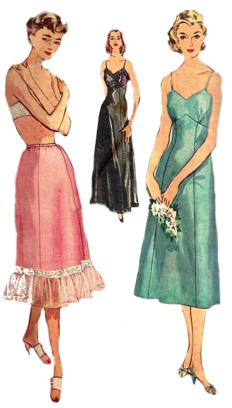 96f2af38d71fb 1950s Slip Pattern Full Slip Half Slip Long Short Vintage Sewing Simplicity  Women's Misses Size 16 Bust 34 Inches