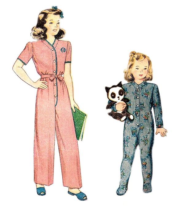 Patrón de pijama de niño de 1940 atado talla de gota asiento 1   Etsy