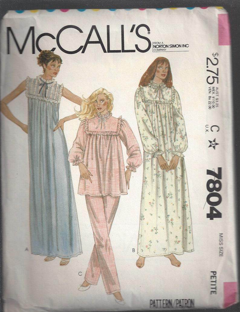 1980s Nightgown Pattern Pajamas Ruffled Yoke McCall s  6a13cf138