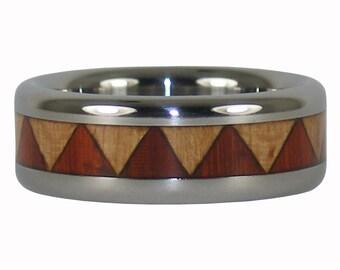 Padauk and Maple Wood inlay Titanium Ring