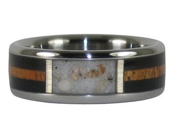 Sea Shell Titanium Wood Ring