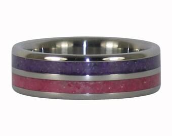 Ruby and Purple Sugilite Crushed Gemstone Inlay Titanium Ring Band