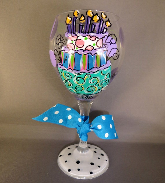 Hand Painted Birthday Cake Girl Red Wine Glass