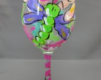 Whimsical Dragonfly Wine Glass