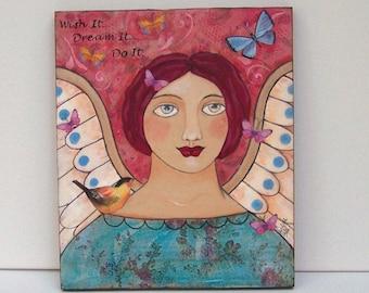"Folk Art Angel Original Mixed Media Encaustic Painting Inspirational ""Wish it, Dream it' Do it"