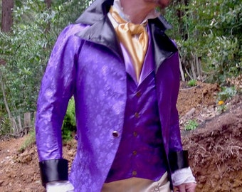 Royal Purple Floral Brocade Steampunk Victorian Lapeled Gentlemen's Vest