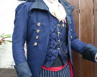 Royal Blue Linen and Black Swallowtail Steampunk Pirate Wedding Jacket 8ec606ebcd9