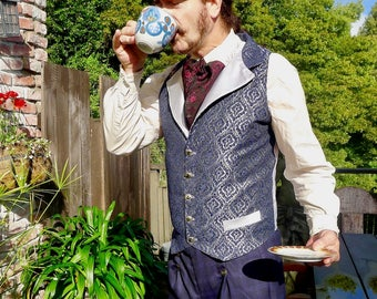 Silver and Blue Medieval Brocade Tapestry Steampunk Victorian Lapeled Gentlemen's Vest