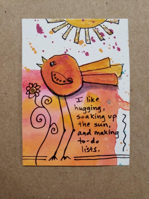 Artist Trading CardACEO Hippie Chick Series Original Mixed Media Artwork