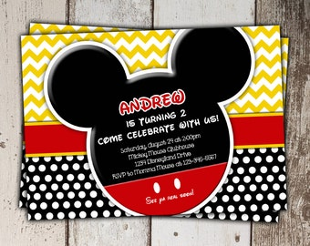 Mickey Mouse Invitations - Birthday - print yourself JPG - Style 3