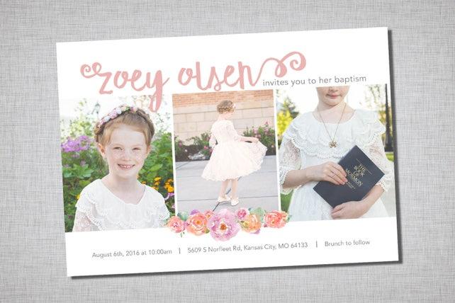 LDS Baptism Invitation Modern Girl Printable Announcement