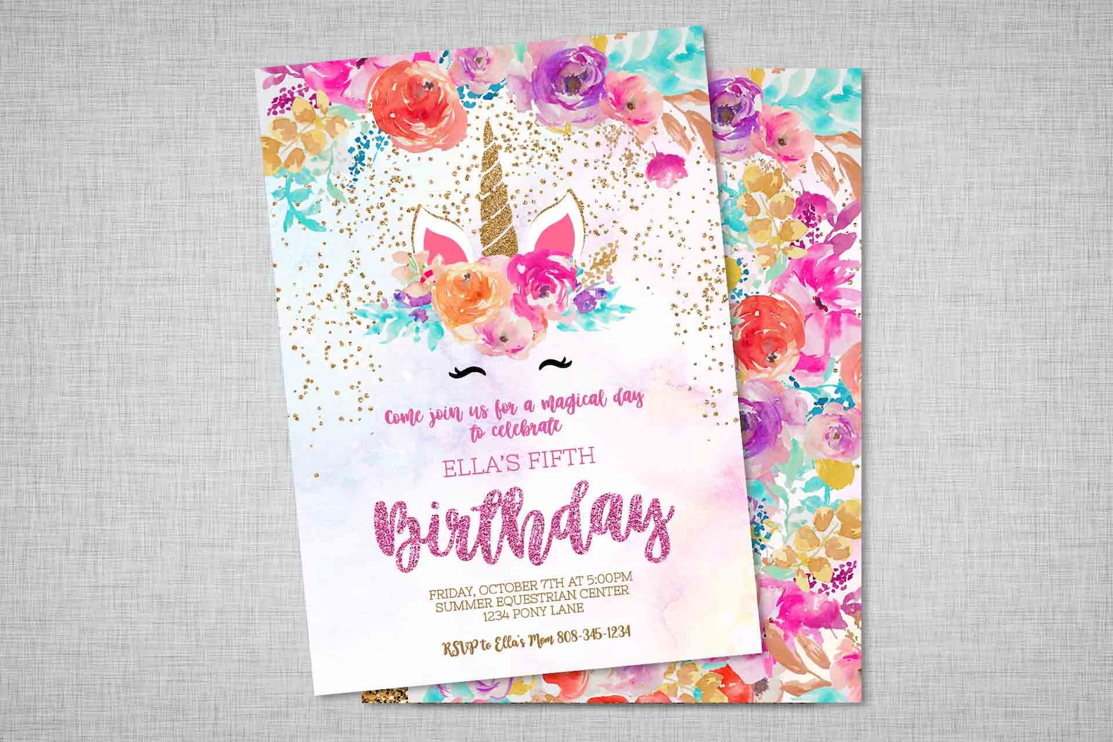 Printable Unicorn Horn Invitations Page Two