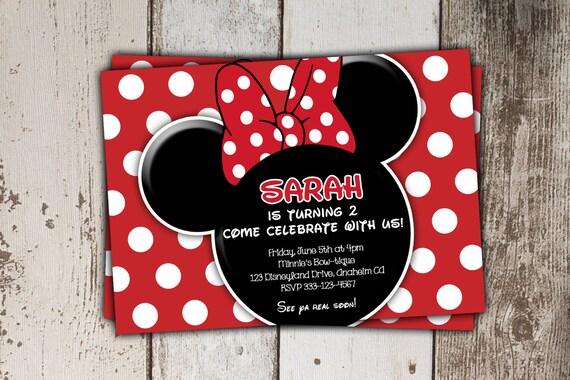 Rojo Minnie Mouse Invitaciones Con Foto Otros Colores Los Estilos Disponibles Invitaciones De Cumpleaños Imprimir Usted Mismo Jpg