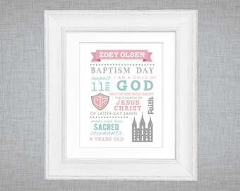 LDS baptism printable - editable instant download  - subway word art - girls baptism gift - choose the right - CTR