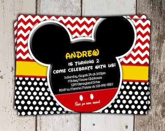 Mickey Mouse Invitations - Birthday - print yourself JPG - Style 2
