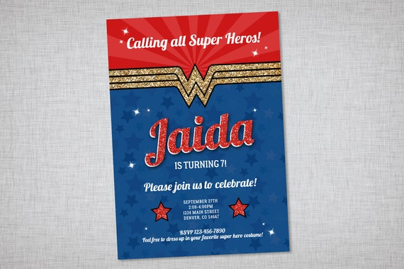 wonder woman invitation printable invitation wonder woman etsy