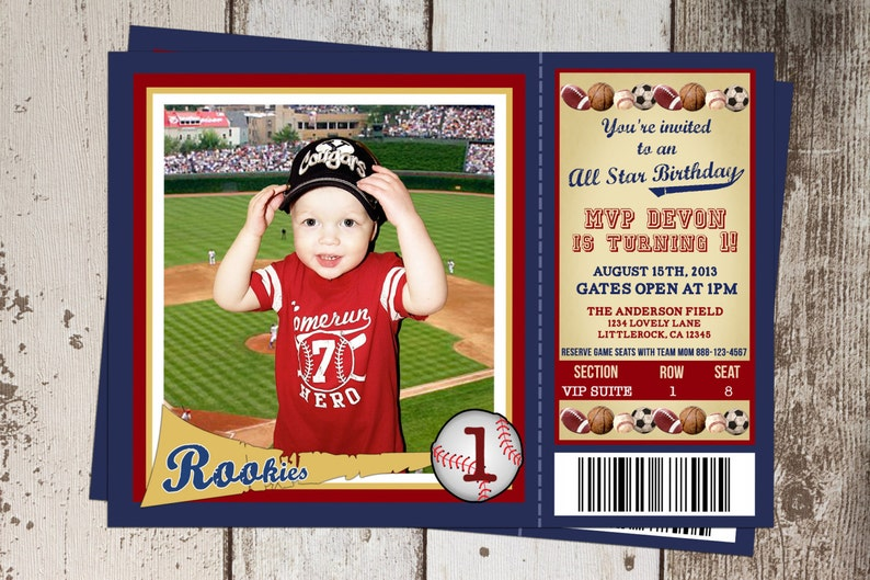 All Sports Ticket Birthday Invitation Star Theme