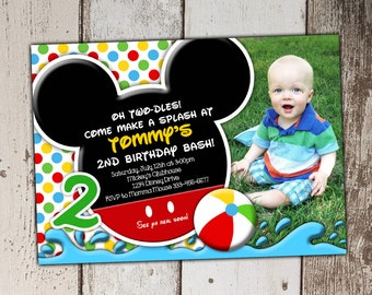 Mickey Mouse Swim Party Invitations - picture spot - Birthday - print yourself JPG