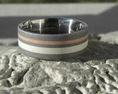 Unique Wedding Band, Titanium Silver Copper Inlay Ring, His or Hers