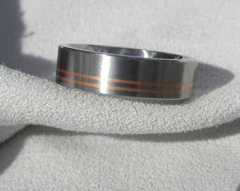 313e759e2f Wedding Band, Titanium with Copper Pinstripes Ring, Mens Ring, Unisex Ring
