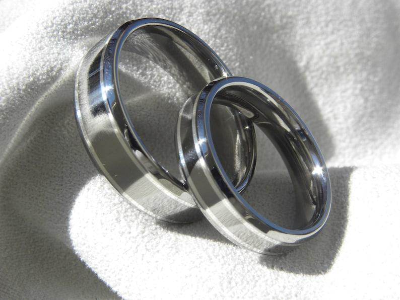 Matching Ring Set His Hers Rings Titanium Silver Wedding Band