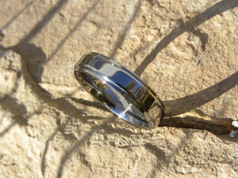 Polished Flat Stepped Edge Titanium Ring Wedding Band
