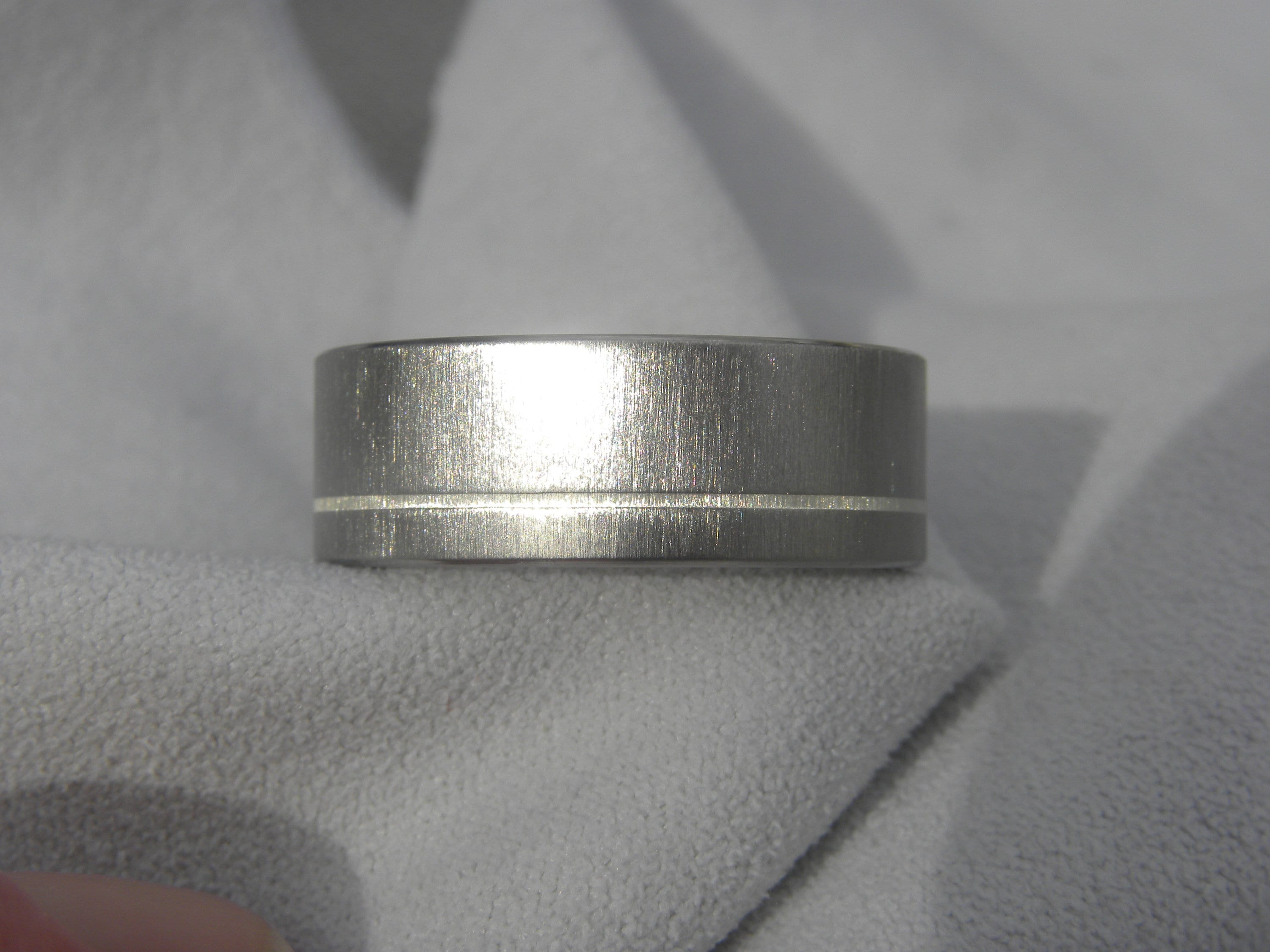 Titanium Flat 8mm Sterling Silver Inlay Brushed Band