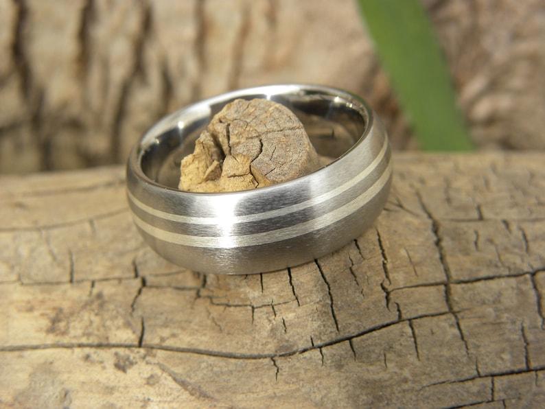 Wedding Band New Style Titanium Double Silver Stripe Ring