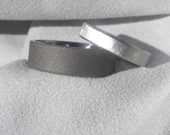 Ring Set, His Hers Rings, Wedding Band, Sandblasted, Frosted