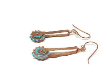 Long Earrings for Women, Spring earrings, Boho Earrings, Copper Earrings, Long Earrings, Blue Earrings