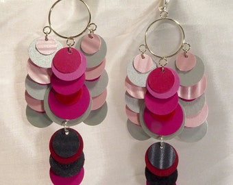 Pink paper earrings by beccasblend