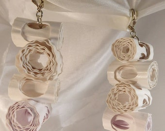 Long rolled paper earrings by beccasblend