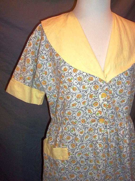 Yellow Floral Feedsack Short Apron Dress Smock Top