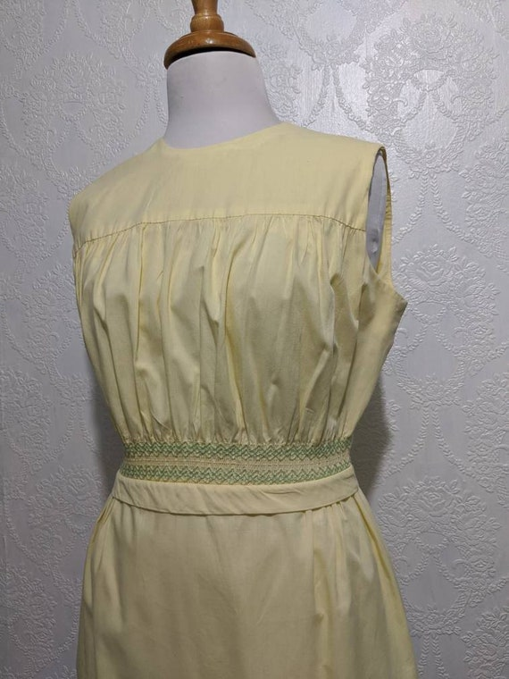 Perfectly Yellow Smocked Waist Vintage 60s Sleevel