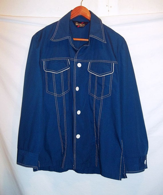 0b7a2e620bf Sears 70s Vintage Mens Navy Blue Shirt Jacket Button Front