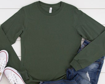 Bella + Canvas, 3501, Military Green, Blank Shirts, Plain Adult Unisex Long-Sleeve T-shirts, Unisex, DIY Blanks, Make Your Own Gifts