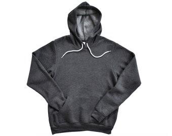 Bella + Canvas, 3719, Heather Dark Gray, Blank Hoodie, Adult Unisex Hooded Sweatshirt, Sponge Fleece Pullover, DIY Blanks