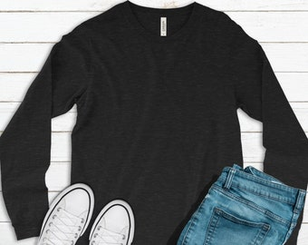 Bella + Canvas, 3501, Heather Black, Blank Shirts, Plain Adult Unisex Long-Sleeve T-shirts, Unisex, DIY Blanks, Make Your Own Shirts